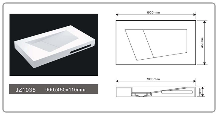 Solid Surface Wall Mount Seamless Basin JZ1038