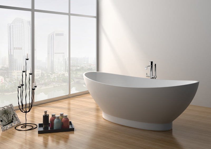 71 Inch Modern Solid Surface Soaking Freestanding Bathtub JZ8620