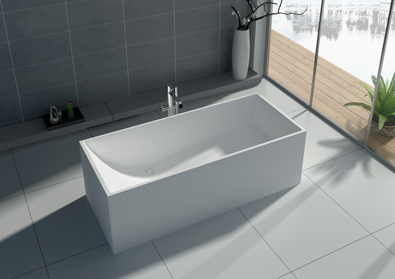 67 Inch High Quality Square Freestanding Solid Surface Tub JZ8607